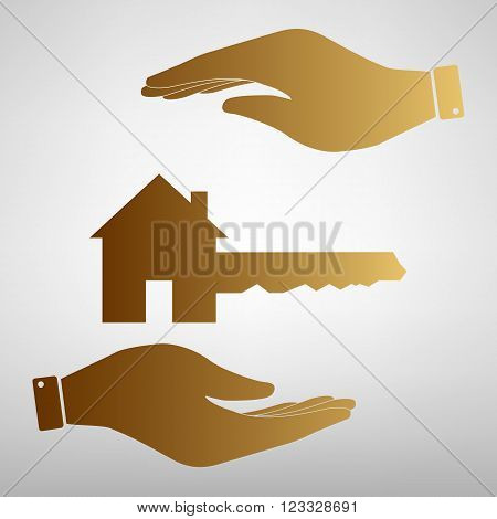 Home Key sign. Save or protect symbol by hands. Golden Effect.