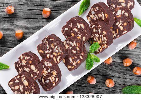 No Bake Hazelnuts Peanuts Chocolate Cookies top view