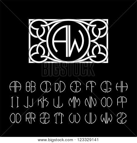 Stylish  graceful monogram made of wide white stripes Overlapping with shadows.  Elegant line art logo design . Set  template letters to create monograms of two letters in scribed in a circle.