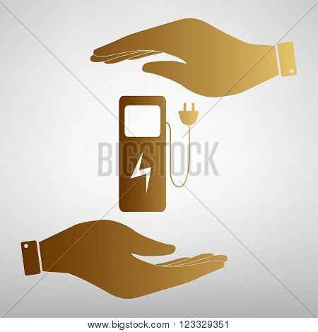 Electric car charging station sign. Save or protect symbol by hands. Golden Effect.