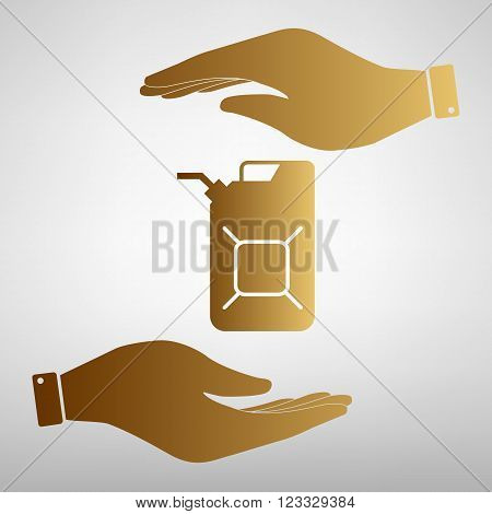 Jerrycan oil sign. Flat style icon vector illustration.