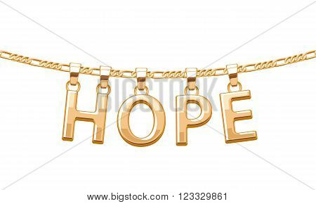 Golden HOPE word pendant on chain necklace. Jewelry design.