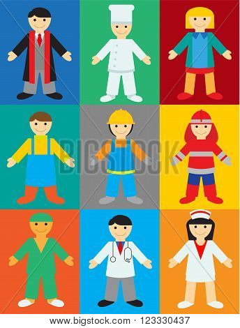 Professions on Color Background. Vector Illustration of People of Different Professions for Children.