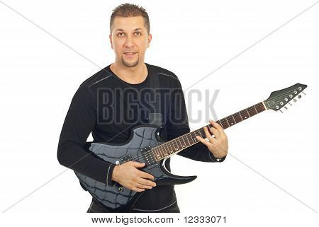 Casual Mid Adult Man With Guitar