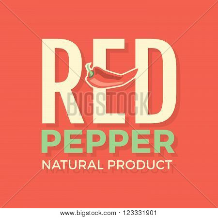 White and green logo with word Red pepper natural product , design elements chili pepper at a red background. Design template for restaurant, cafe and canteens. Vector Illustration