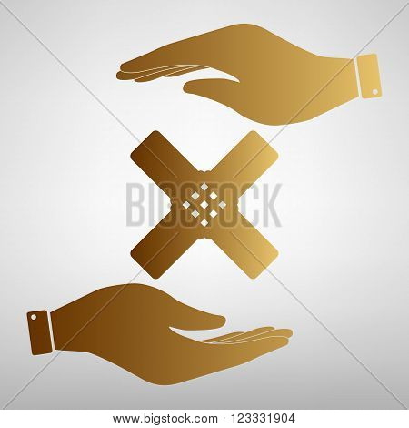 Aid sticker sign. Flat style icon vector illustration.