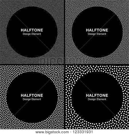 Set of Abstract Halftone White Dots Frames on Black Background. Circle Backgrounds. Vector illustration.