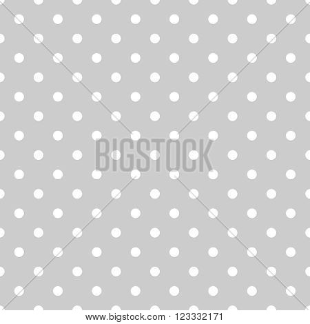 Seamless white and grey vector pattern or tile background with small polka dots. For desktop wallpaper and website design