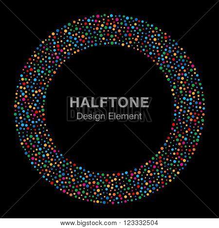 Abstract Rainbow Bright Celebration Holiday Circle Frame on Black Background. Birthday confetti rounds. Circle Logo Design Element. Vector illustration.