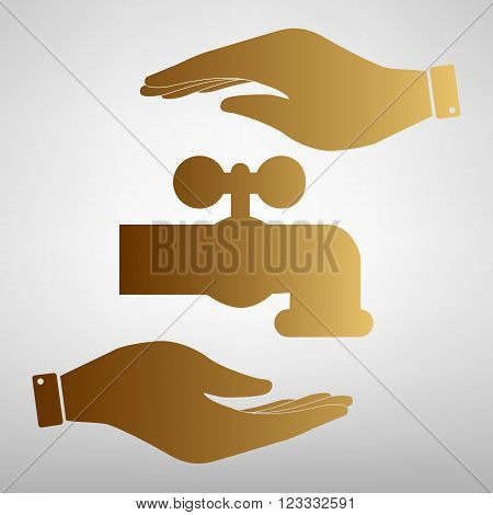 Water faucet sign. Save or protect symbol by hands. Golden Effect.