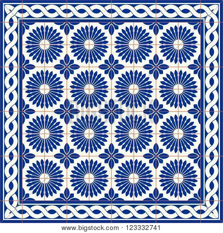 Gorgeous seamless  pattern  white Turkish, Moroccan, Portuguese  tiles and border, Azulejo, Arabic ornament. Islamic art