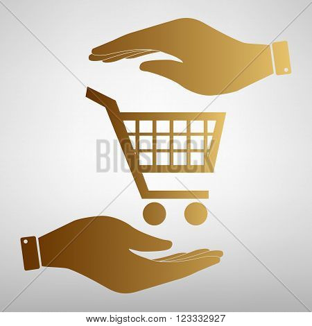 Shopping cart sign. Flat style icon vector illustration.