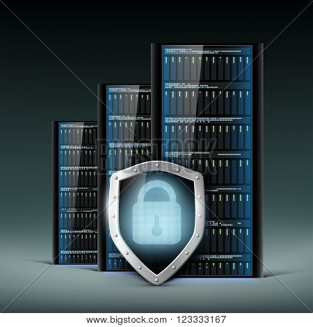 Network servers with a shield. Security database. Stock vector illustration.
