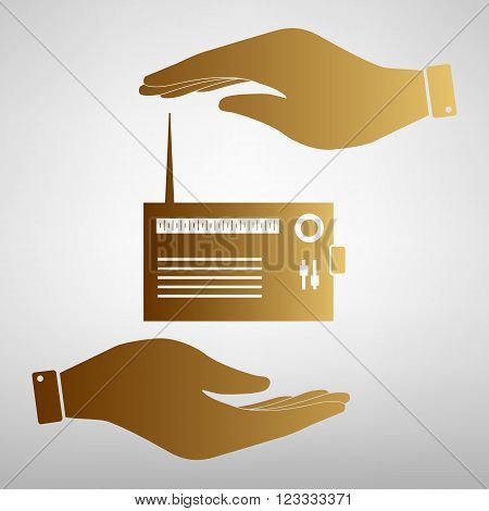 Radio sign. Flat style icon vector illustration.