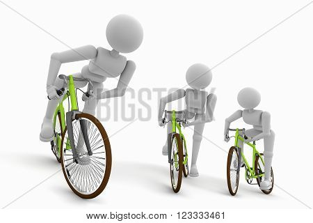 expressive movements of the athlete a cyclist during a race isolated on white 3D render illustration