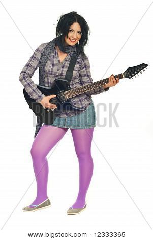 Beautiful Woman In Mauve With Guitar