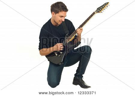 Casual Man With Electronic Guitar
