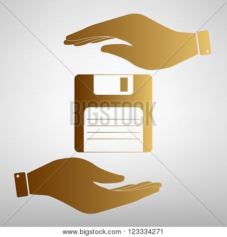 Floppy disk sign. Save or protect symbol by hands. Golden Effect.