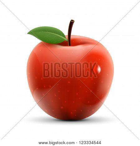 Red apple isolated on white background. Ripe fruit. Stock vector illustration.