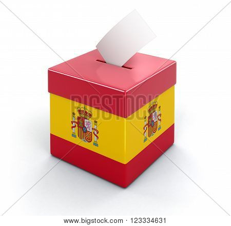 3D Ballot Box with Spanish flag. Image with clipping path