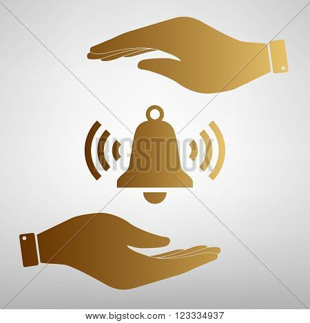 Ringing bell icon. Save or protect symbol by hands. Golden Effect.