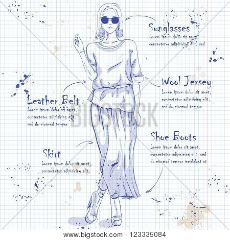 Fashion look on a notebook page. Glamor stylish beautiful young woman model.