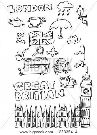 Vector hand drawn London set with elements Big Ben clock, flag of Great Britain, policeman helmet, red bus, umbrella, boots, Street light