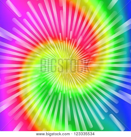 Tie Dye Colors. Beautiful Realistic spiral tie-dye vector illustration.