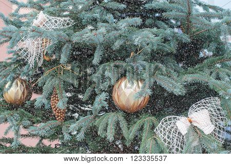 Beautiful Christmas toys on the Christmas tree and others decoration.