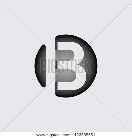 Capital letter B. Made of wide white stripes Overlapping with shadows. Logo, monogram, emblem trendy design.