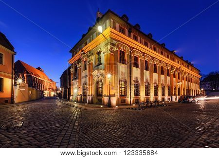 Vintage architecture of Wroclaw Poland in the evening.