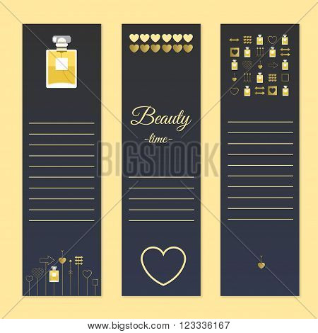 Perfume and beauty gift cards with notes. Stock vector illustration.Fragrance with golden decorative elements. Vector illustration for holiday cards and shopping catalog.