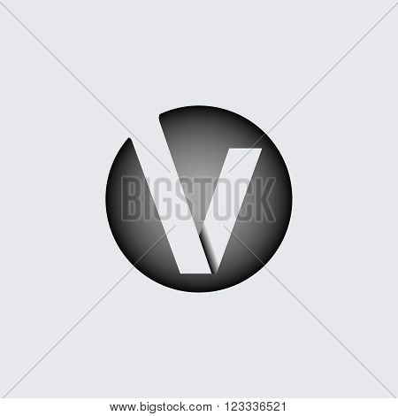 Capital letter V. Made of wide white stripes Overlapping with shadows. Logo, monogram, emblem trendy design.