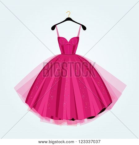 Prom dress. Vector illustration/ Pink party dress