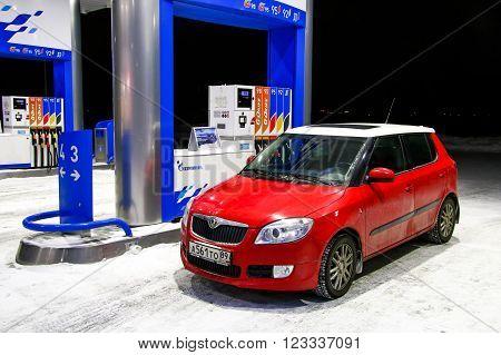 NOVYY URENGOY, RUSSIA - MARCH 9, 2016: Motor car Skoda Fabia SE at the gas station.