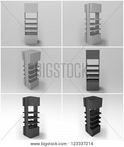 Promotional Store Shelf Stand 3D Render is a professional realistic 3d render of a generic store shelf stand used for marketing campaigns and in store marketing. Promotional Store Shelf Stand 3D Render has 4 branding positions.