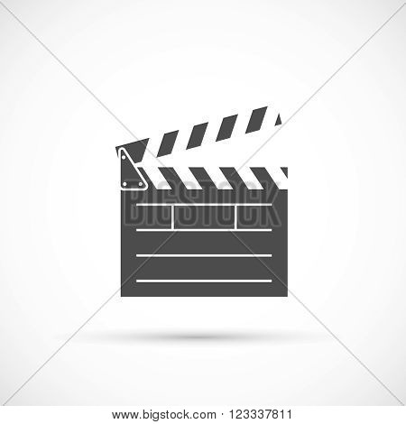 Clapper board icon. Film clap board cinema vector