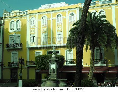 public park with monument Triana barrio neighborhood Vegueta Grand Canary Island Spain Europe