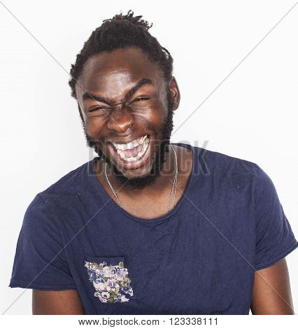 young handsome afro american boy in stylish hipster closers gesturing emotional isolated on white background smiling close up, crazy man yelling
