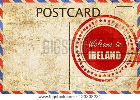 Vintage postcard Welcome to ireland card with some soft highlights