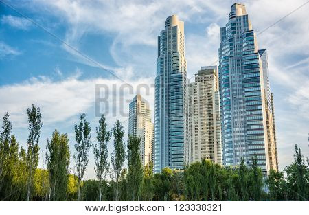 Buenos Aires - January 24, 2016: Skyscrapers and architecture in Puerto Madero, Buenos Aires, Argentina on January 24, 2016