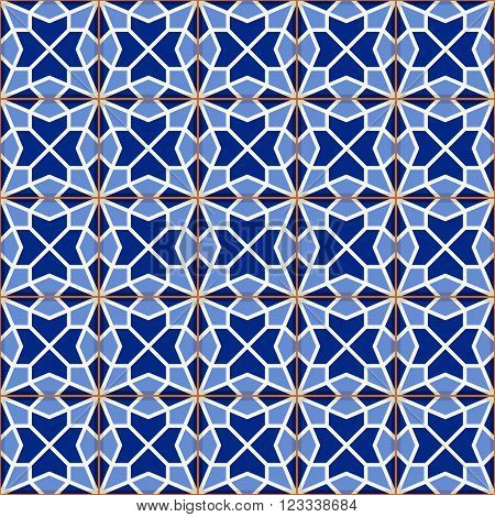 Geometric seamless  pattern  white Turkish, Moroccan, Portuguese  tiles, Azulejo, Arabic ornament. Islamic art.   Can be used for wallpaper, pattern fills, web page background, surface textures.
