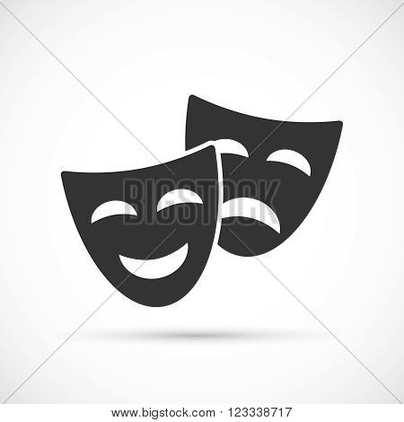Comedy and tragedy theatrical masks icons. Flat icons