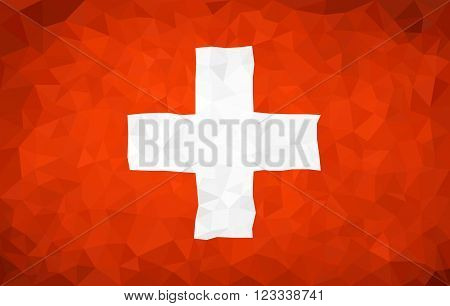 Switzerland high poly triangulate flag in EPS 8 format.