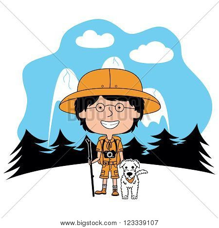 Happy vector boy scout with his fluffy dog on the background of mountains and trees