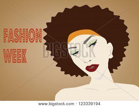 Vector - afro hair hippie woman pop art