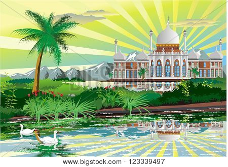 Arabic Palace on the shore of a beautiful lake with swans. Vector landscape