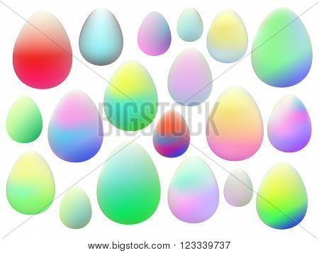 Set of easter eggs, colorful isolated vector clip art on the white background
