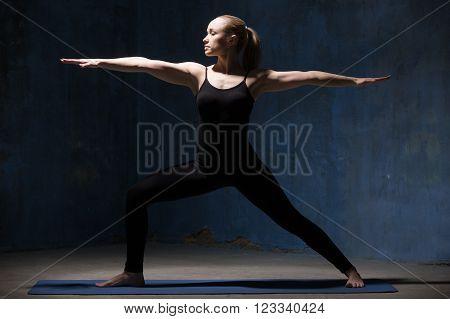 Beautiful Yoga Woman Doing Warrior Ii Pose