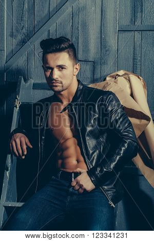 Sexy Stylish Man In Leather Jacket